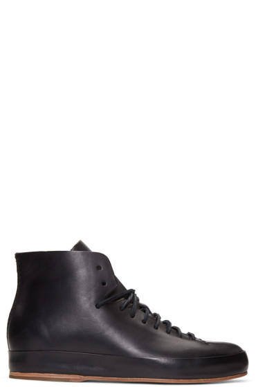 Feit - Black Leather High-Top Sneakers