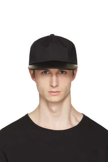 Attachment - Black Leather Brim Cap