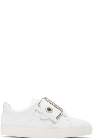 Marques Almeida - SSENSE Exclusive White Buckle Sneakers