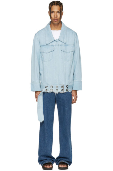 Marques Almeida - Blue Denim Oversized Belted Jacket