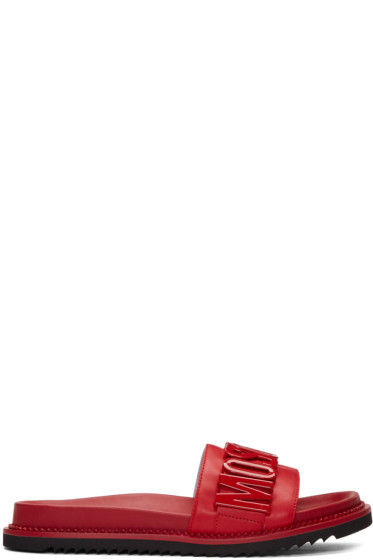 Moschino - Red Logo Slide Sandals