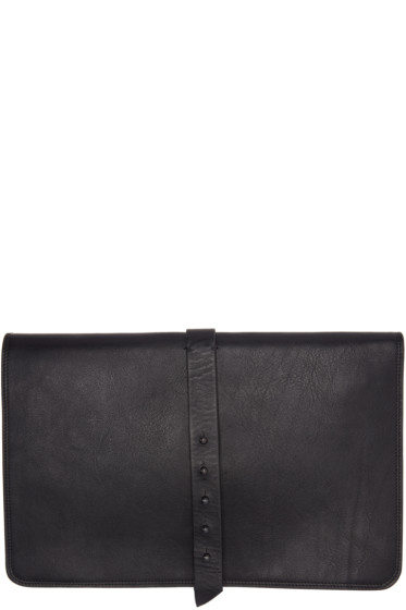Isabel Benenato - Black Leather Document Holder