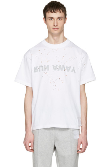 Satisfy - White 'Run Away' Moth Eaten T-Shirt