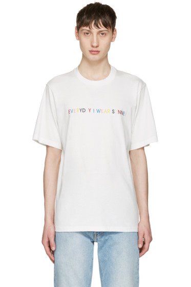 Sunnei - White 'Everyday I Wear Sunnei' T-Shirt