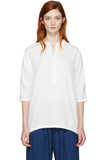 Blue Blue Japan - White Stand Collar Blouse