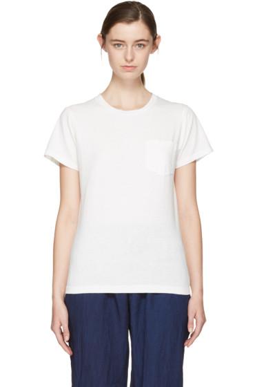 Blue Blue Japan - White Crewneck Pocket T-Shirt