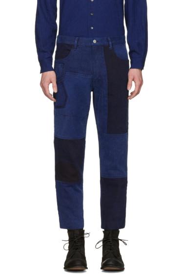 Blue Blue Japan - Blue Patchwork Ankle Jeans