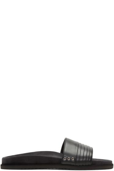 John Elliott - Black Leather Slide Sandals