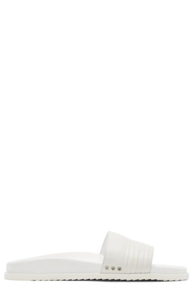 John Elliott - White Leather Slide Sandals