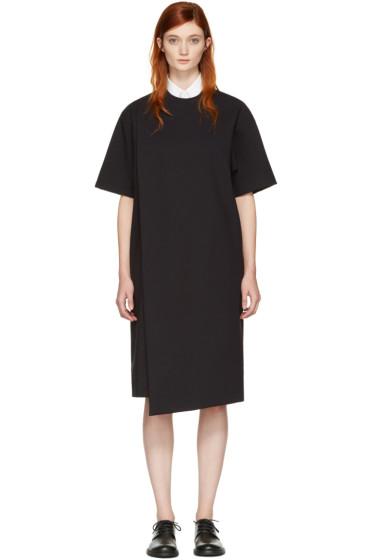 Hyke - ブラック フォールドオーバー パネル ドレス