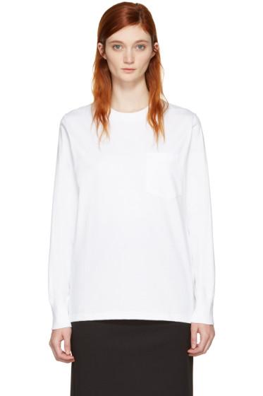 Hyke - ホワイト ポケット T シャツ