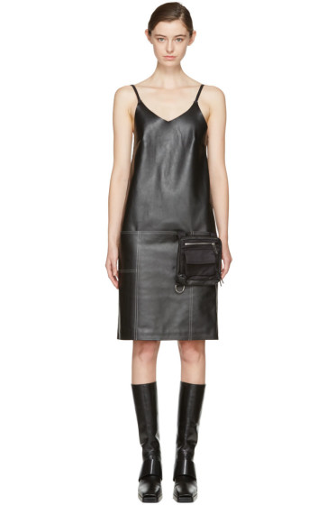 Alyx - Black Leather Apron Dress