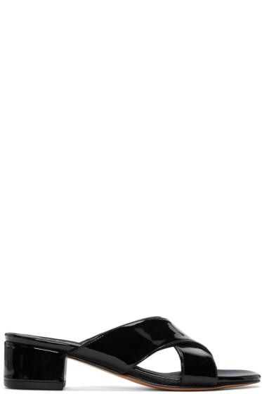Maryam Nassir Zadeh - Black Patent Leather Lauren Slide Sandals