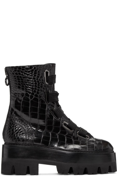 Ellery - Black Sunny Platform Combat Boots