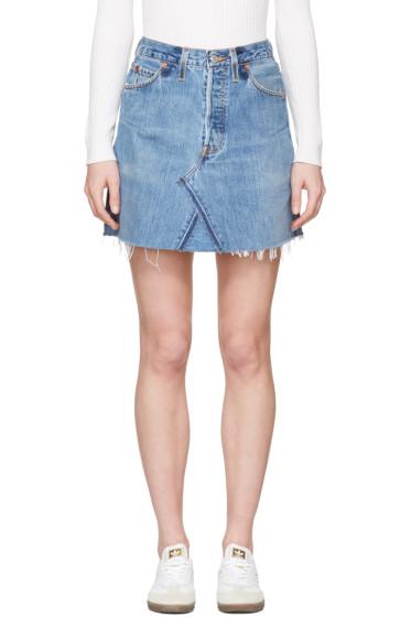 Re/Done - Blue Denim High-Rise Miniskirt