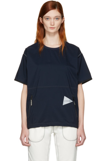 and Wander - Navy Pertex Wind T-Shirt