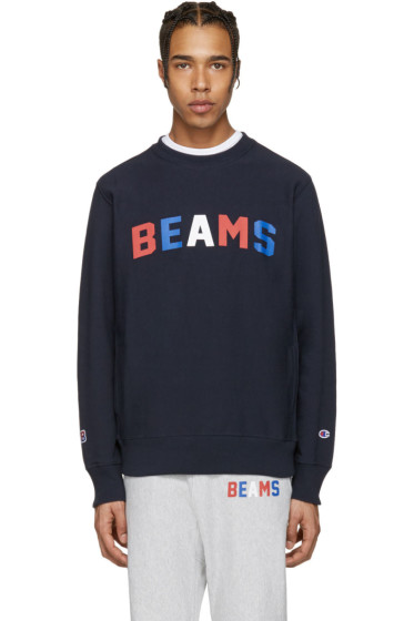 Champion x Beams - Navy Logo Pullover
