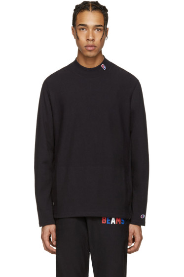 Champion x Beams - Black Mockneck Logo Pullover