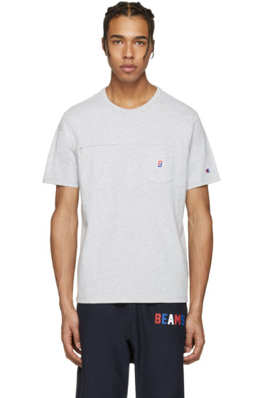 Champion x Beams - Grey Two Pocket Logo T-Shirt