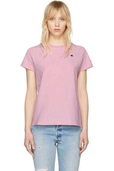 Champion Reverse Weave - Pink Small Logo T-Shirt
