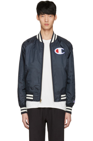 Champion Reverse Weave - Reversible Navy Logo Bomber Jacket