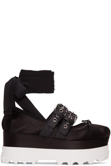 Miu Miu - Black Double Buckle Platform Ballerinas