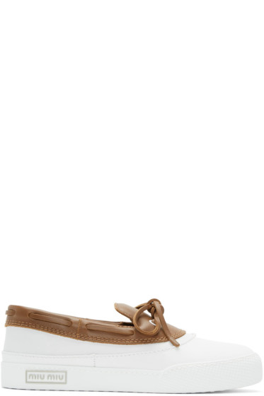 Miu Miu - White & Brown Top Sider Loafers