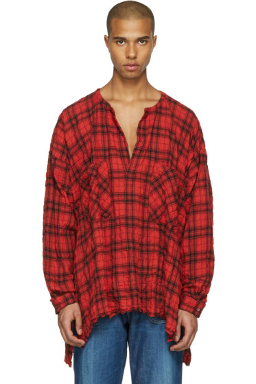 Faith Connexion - Red Oversized Plaid Shirt