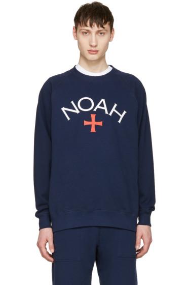 Noah NYC - ネイビー ロゴ プルオーバー
