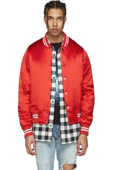 Amiri - Red Satin Baseball Bomber Jacket