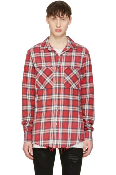 Amiri - Red Plaid Grunge Shirt