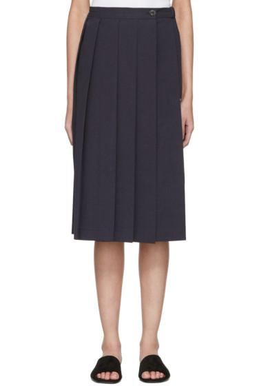 Moderne - Navy Pleated Wrap Skirt