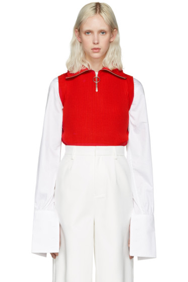 Shushu/Tong - Red Knit Zip Turtleneck