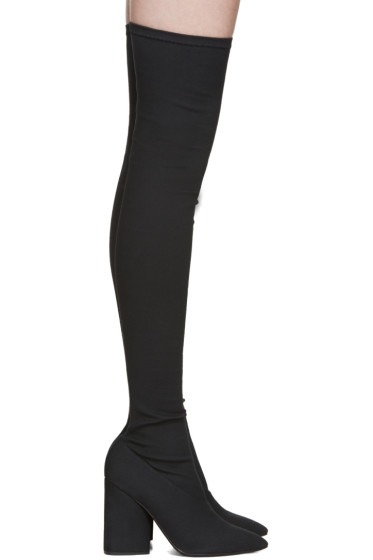 YEEZY - Black Canvas Thigh-High Boots