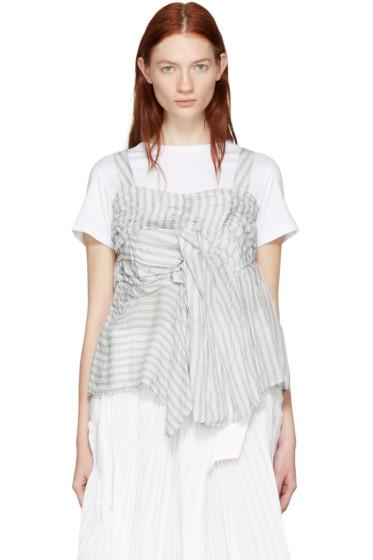 Chika Kisada - White Ruched T-Shirt