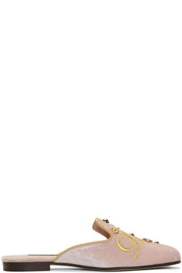 Dolce & Gabbana - ピンク ベルベット エンブロイダ ミュール