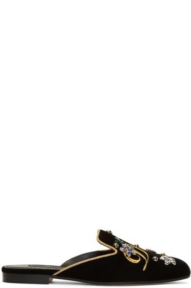 Dolce & Gabbana - ブラック ベルベット エンブロイダ ミュール
