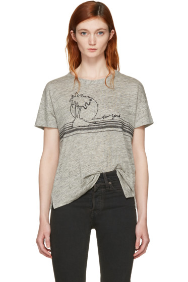 Rag & Bone - Grey Palm Embroidery T-Shirt