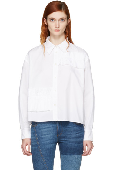 McQ Alexander McQueen - White Cropped Ruffle Shirt
