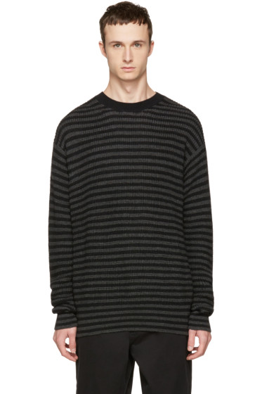 McQ Alexander McQueen - Black & Grey Striped Wool Sweater