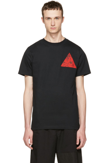 McQ Alexander McQueen - Black Floral Double Triangle T-Shirt