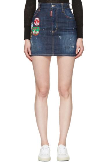 Dsquared2 - Blue Patchwork Denim Miniskirt