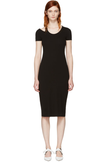 Helmut Lang - Black Cap Sleeve Rib T-Shirt Dress