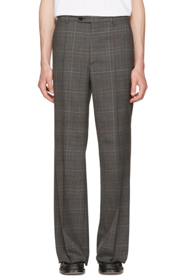 Maison Margiela - Grey Plaid Full Leg Trousers