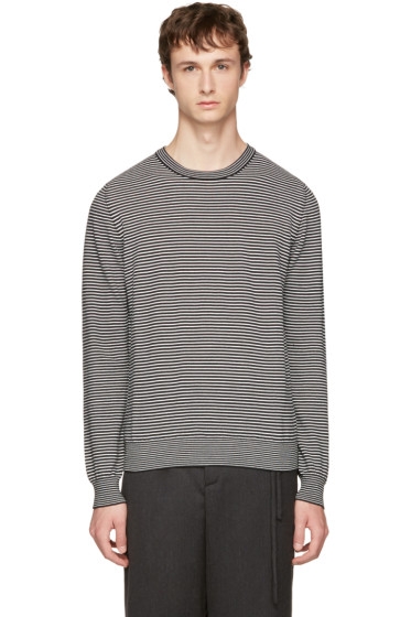 Maison Margiela - Black & White Striped Elbow Patch Sweater