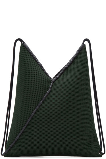 MM6 Maison Margiela - Green Mesh Drawstring Backpack