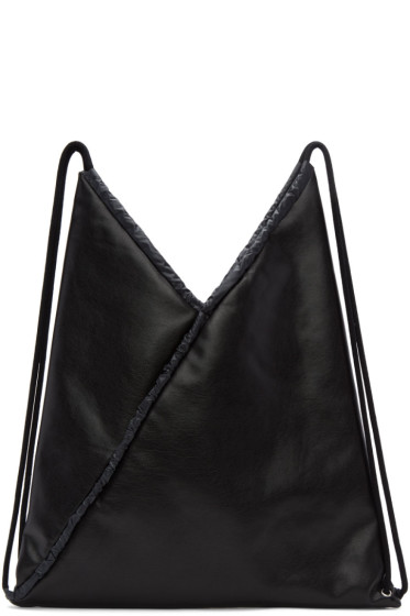 MM6 Maison Margiela - Black Faux-Leather Backpack