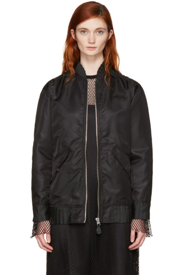 MM6 Maison Margiela - Black Ruffle Bomber Jacket