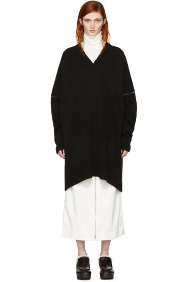 MM6 Maison Margiela - Black Oversized V-Neck Sweater