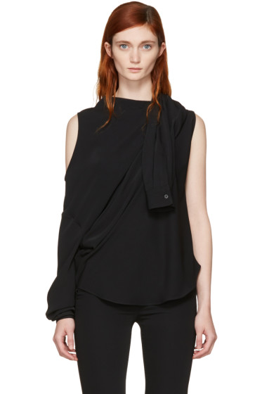 MM6 Maison Margiela - Black Fluid Single-Sleeve Blouse